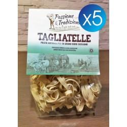 5 Pacchi Tagliatelle di Semola di Grano Duro Siciliano Passione & Tradizioni