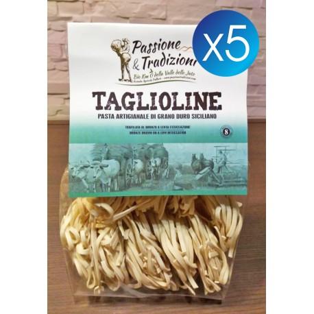 5 Pacchi Tagliolini di Semola di Grano Duro Siciliano Passione & Tradizioni