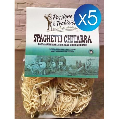 5 Pacchi Spaghetti Chitarra di Semola di Grano Duro Siciliano Passione & Tradizioni