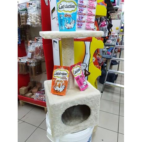 Tiragraffi con casetta quadrata per gatti